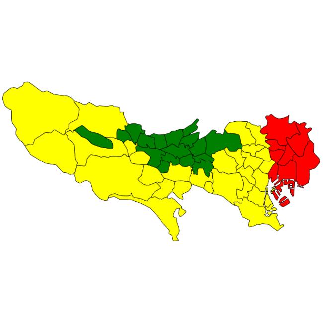 緑:80点以上(安全) 黄:55点以上(普通) 赤:55点未満(注意)