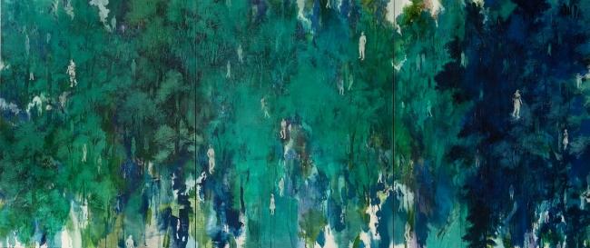 眞壁陸二「階調の森(緑)」2020年(3枚組)