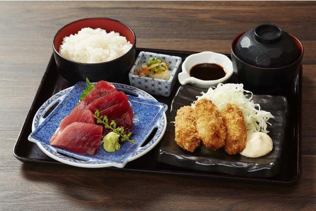 焼津ミナミマグロ刺しとカキフライ膳   980円(税込)