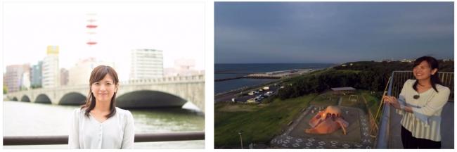 ▲「萬代橋」と「関分記念公園」を案内してくれるのは渡邉智世アナウンサー。