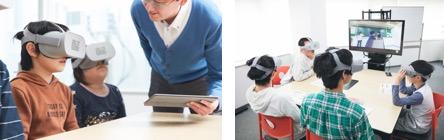 ▲「emou」での体験学習の様子。支援スタッフはVRゴーグルとスマートデバイスのみの 簡単運用で、少人数で質の高い支援プログラムを実施することが可能です。