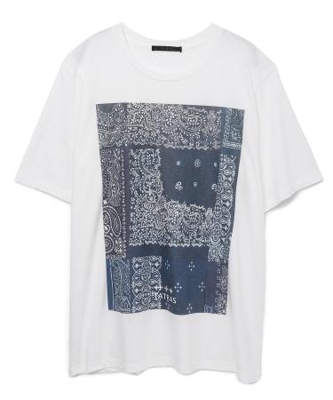 バンダナ柄Tシャツ ¥16,000+TAX