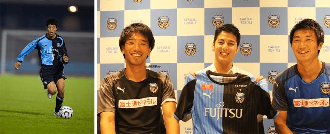 <左:フロンターレ時代の樋口大、  右:吉田コーチ、  樋口大、  安藤選手、  (C)KAWASAKI FRONTALE>