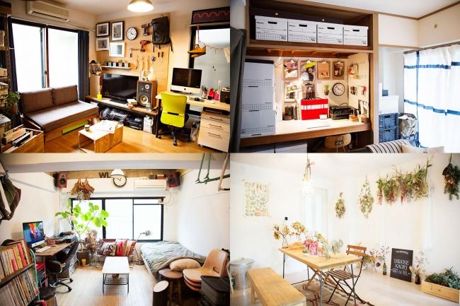 モダンな装飾が施された室内。決して新しくない賃貸物件を自分たちの手でDIYして作り上げている