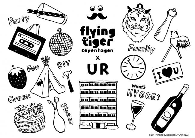 今回DIYer(s)が制作したメインイラスト。HYGGEやPARTY、FAMILY、DIYなどをキーワードに部屋を作り上げていく。
