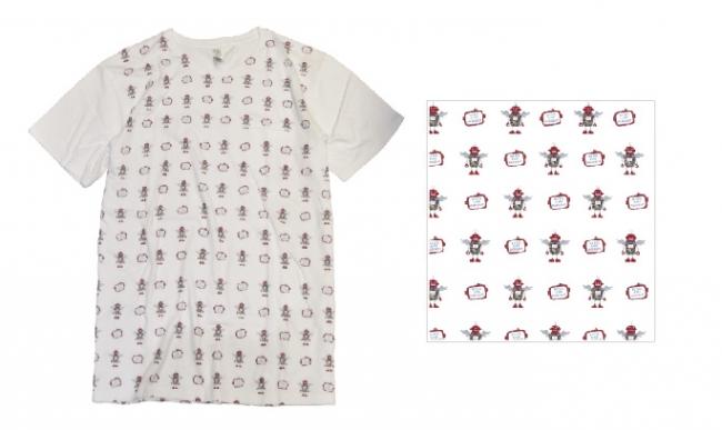Tシャツ:ロボ総柄/ホワイト