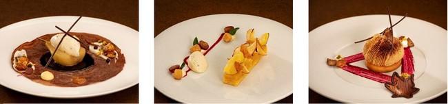 「洋梨のベル・エレーヌ」¥1,936 「さつまいもとりんごのタルトバニラアイス添え」¥1,633 「和栗のモンブラン」¥1,936
