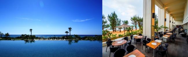 2位 「ホテルモントレ沖縄 スパ&リゾート」のメインプールは海とプールが一体となるような景色が広がる(写真左)。写真右は海を望む「タイガービーチカフェ」。