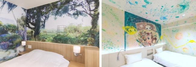 (左から)1位 沖縄県「ホテルWBFアートステイ那覇」、3位 大阪府「ホテルWBFアートステイなんば」の客室例。