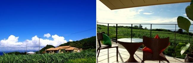 (左から)1位 沖縄県「hotel cava」の外観と、客室のバルコニー。