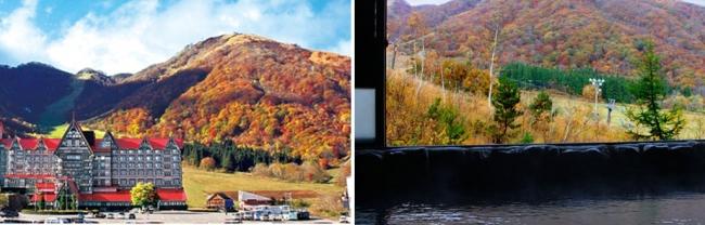 (左から)1位 長野県「奥白馬温泉 ホテルグリーンプラザ白馬」の外観と展望露天風呂。