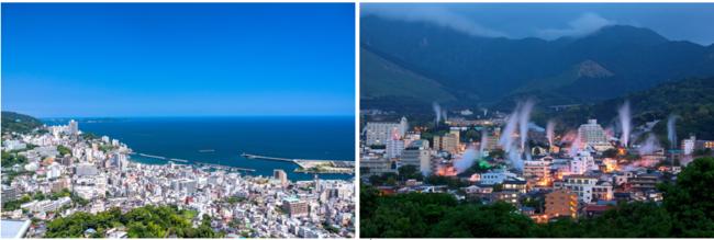 (左から)静岡県「熱海温泉」の街並み、大分県「別府温泉」湯けむり展望台から望む温泉街
