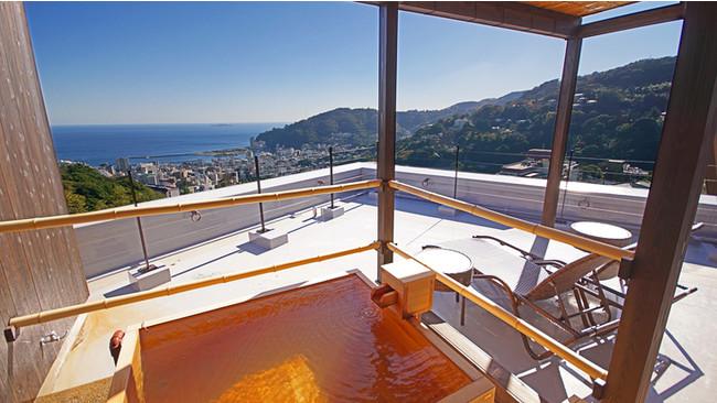3位「絶景掛け流しの宿 熱海月右衛門」 客室露天風呂からの眺め(一例)