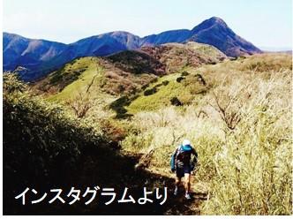 インスタグラム投稿者がトレイルランをしながら撮影した画像。明神ヶ岳を登る途中にて。