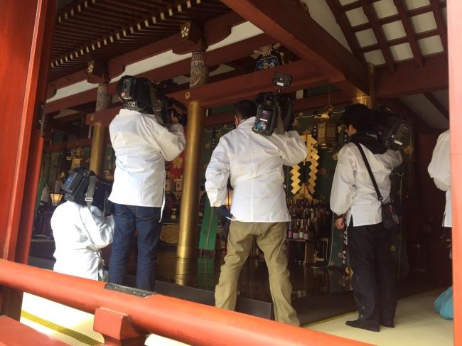 全国梅酒まつりin福岡での梅酒奉納式 多数のメディアの皆さまが取材にお越しいただきました。会場太宰府天満宮