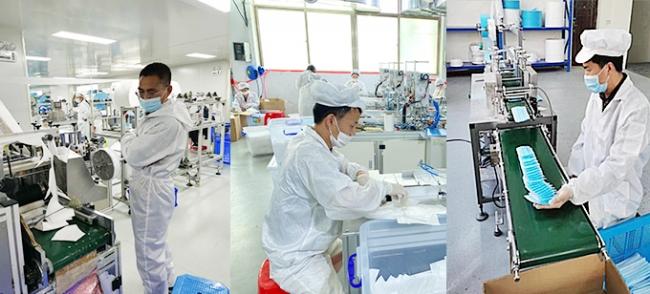 提携工場(中国)でのマスク生産の様子(一例)