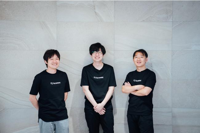 左から、矢嶋 裕介(VPoE)、 工藤 真(CTO)、 蓮田 健一(CEO)