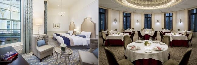 客室タイプ「ドームサイドスーペリアツイン」とレストラン「ブラン ルージュ」