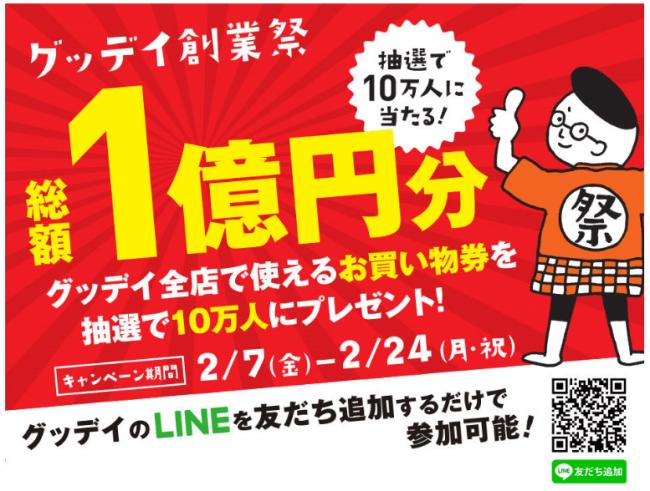 ホームセンターグッデイ 創業祭~ 総額1億円が10万人に当たる ...