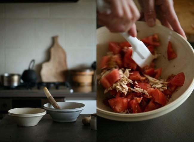 料理家・ワタナベマキさんと作った、器としても使える美しいすり鉢。作家・安齋新さん、厚子さんが手がけてくれたもの(撮影:馬場わかな)。