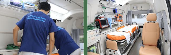 救急車の機能は、通常の救急車が備えている機能はもちろん、加えて「モニター」、「半自動除細動器」、「人工呼吸器」も登載。