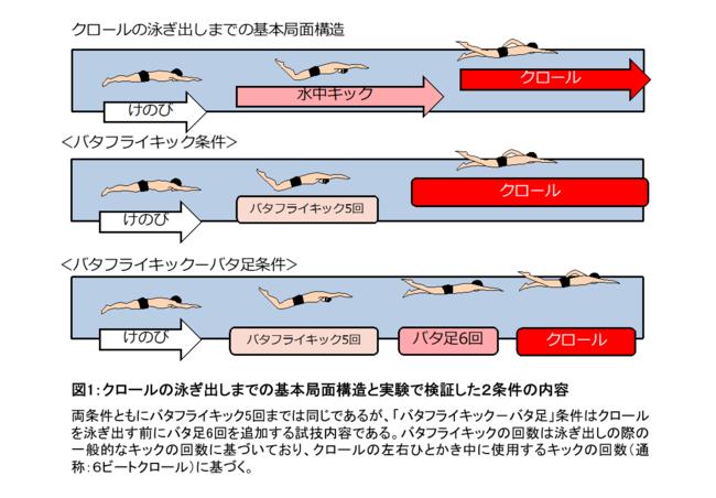 図1:クロールの泳ぎ出しまでの基本局面構造と実験で検証した2条件の内容