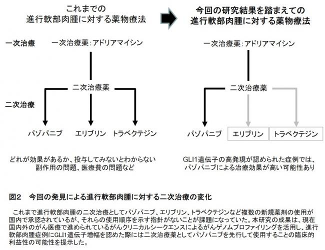 図2  今回の発見による進行軟部肉腫に対する二次治療の変化