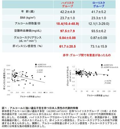 図1:アルコールに強い遺伝子型を持つ日本人男性の代謝的特徴