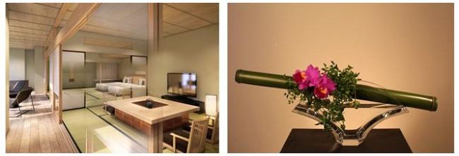 「高輪 花香路」和室イメージ、生け花イメージ