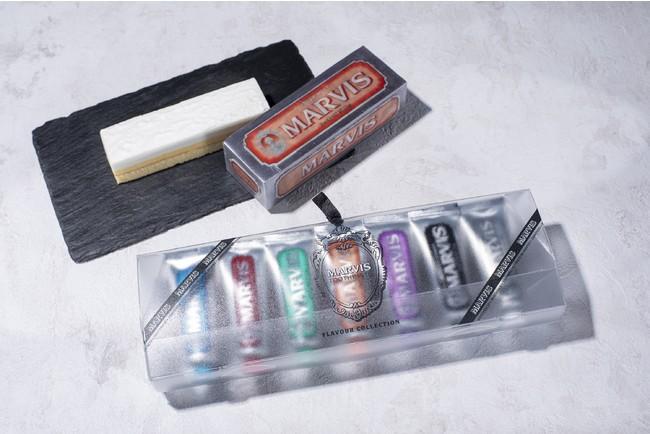 MARVISのパッケージをモチーフにしたサプライズボックスと7種のフレーバー歯磨き粉