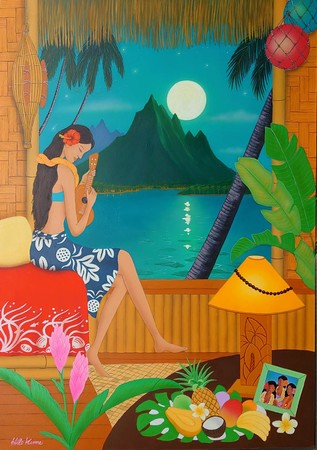 品川プリンスホテルのために描き下ろしたHILO KUME氏の作品 魅惑の南太平洋 -Enchanted South Pacific-