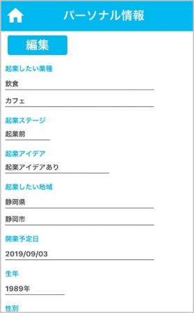 パーソナル情報画面