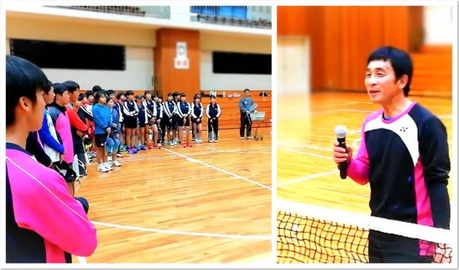 ソフトテニス現役レジェンド 足利剛平選手が上郡町スポーツセンターで中高生を指導。