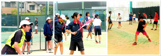 ITCソフトテニススクール、オープンイベントで真剣にプレーする子供たち