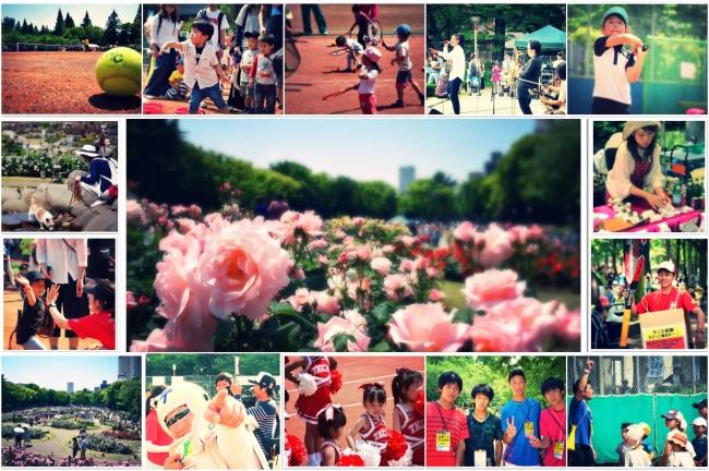 5月バラの季節の地域最大イベント スポーツフェスタ。  うつぼ庭球場の賑わい