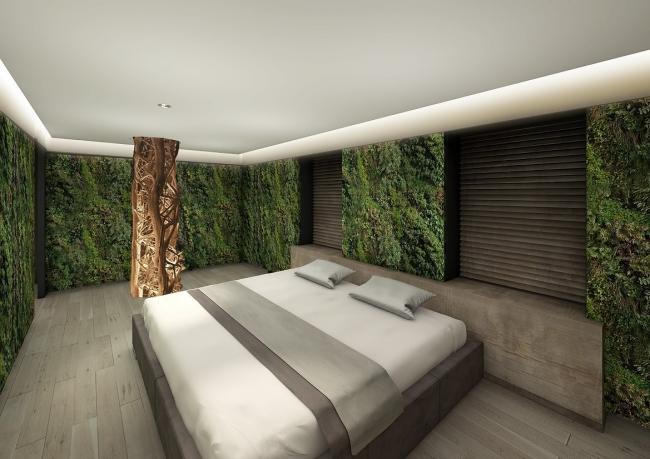 西畠清順氏プロデュースの711号室イメージパース。壁一面が植物で覆われている。