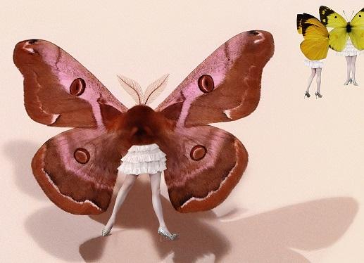 「蝶獣戯画(部分)」鬼や生き物が豊かに表現された時代。美しい蛾は、当時の女子に人気のあったヒメヤママユ。