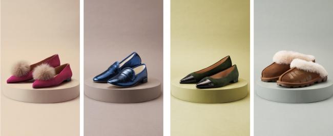 (左から)「シャテル」婦人靴37,000円+税(ファーポンポン別売)、「レペット」婦人靴54,000円+税、「ファビオ ルスコーニ」婦人靴22,000円+税、「アグ(R)」婦人靴19,000円+税