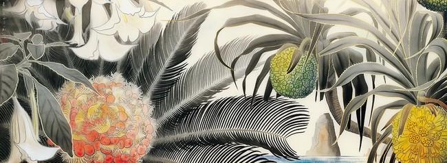 《奄美の海に蘇鐵とアダン》昭和36(1961)年 田中一村記念美術館蔵 (C)Hiroshi Niiyama 2021