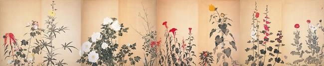 《四季草花図》(旧襖)昭和20年代半ば 大島紬美術館蔵 (C)Hiroshi Niiyama 2021
