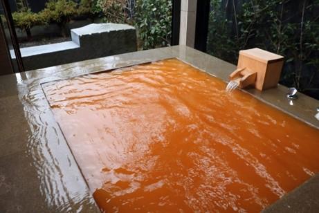 塩分濃度・鉄分濃度が高く、保温効果抜群の天然温泉。 いつでも好きな時に露天風呂を楽しめる贅沢さが魅力の一つです。