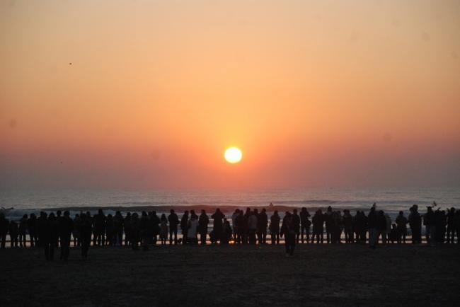 2014年元旦 初日の出 千葉県山武市本須賀海岸