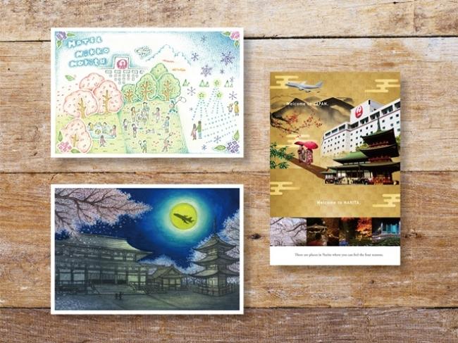 写真右 グランプリ「四季折々の風景」写真左上段 準グランプリ「しあわせホテル」写真左下段 準グランプリ「文化と進化の町・成田」(成田山新勝寺と飛行機のある風景)