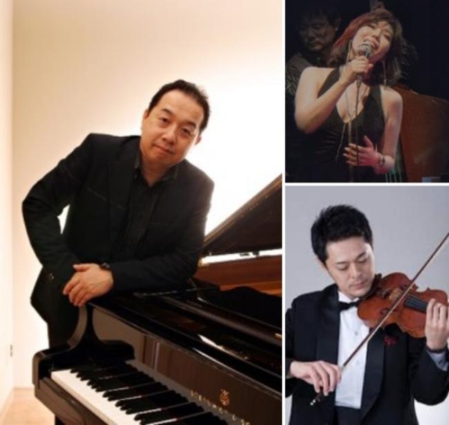左:岩崎大輔(ピアノ)、右上:山口葵(ボーカル)、右下:中西弾(ヴァイオリン)