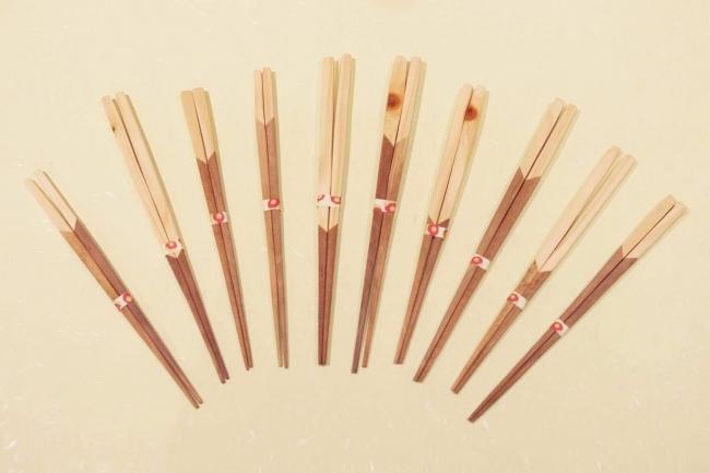 五島椿と檜の寄木箸