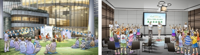 (左)『CAMP NIGHT 2018』会場イメージ (右)『CAMP SCHOOL 2018』会場イメージ