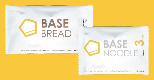 リニューアル後の新パッケージ。左から「BASE BREAD」「BASE NOODLE」