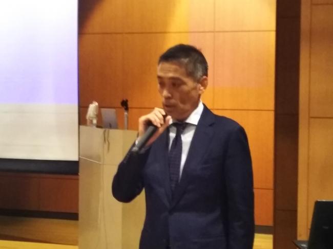 講習会開会に際して挨拶するJMIC副理事長 宇野澤和秀(プライムマリッジ株式会社 代表取締役)