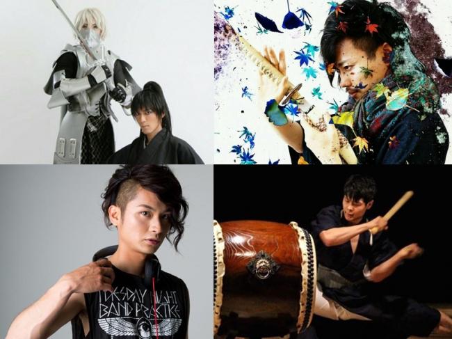左上:チームトラッシュ 右上:MC横川 左下:DJ KAZUYA 右下:太鼓奏者 神谷俊一郎