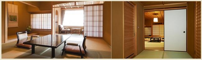 道後温泉屈指の老舗ながら、現在の建物は平成8年に新築したもので、日本の伝統建築をご堪能いただけます。 数寄屋造りの計算された素朴さを、 外観から玄関、 レストラン、 料亭、 湯殿、和室の客室それぞれの空間でしみじみと味わう事ができます。
